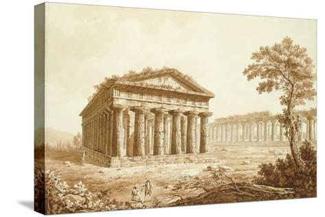 The Temple of Neptune and the Basilica at Paestum-Franz Kaisermaan-Stretched Canvas Print