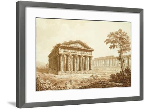 The Temple of Neptune and the Basilica at Paestum-Franz Kaisermaan-Framed Art Print