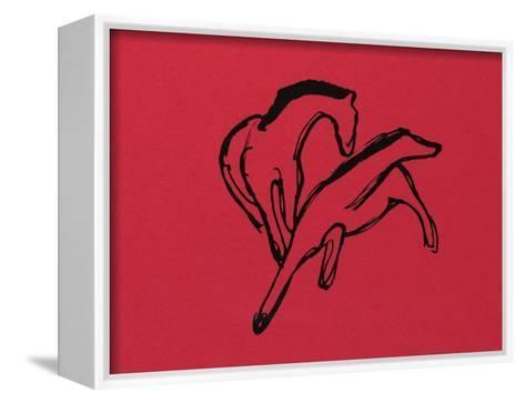 Two Horses (Almanac Vignette); Zwei Pferdchen (Almanach-Vignette)-Franz Marc-Framed Canvas Print