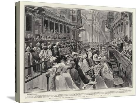 The Service of Intercession for the King at St Paul's Cathedral-Frederic De Haenen-Stretched Canvas Print
