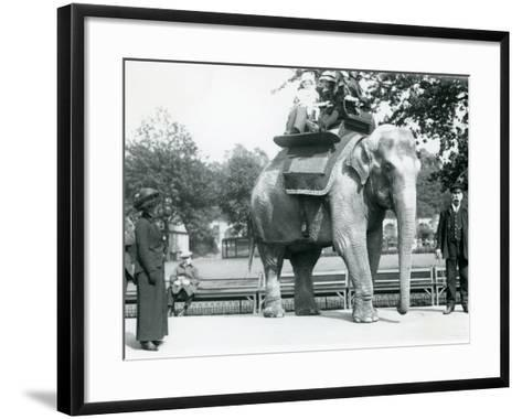 Female Indian Elephant 'Lukhi' Giving Children a Ride with Keeper Charles Eyles-Frederick William Bond-Framed Art Print