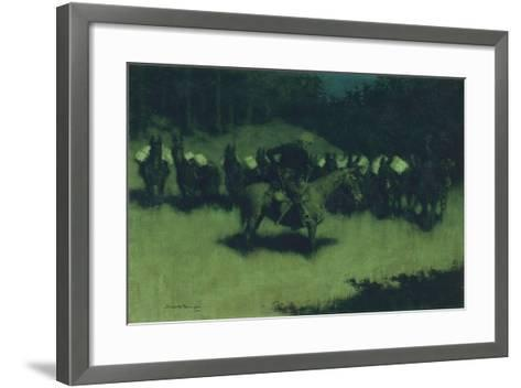 Scare in a Pack Train, 1908-Frederic Remington-Framed Art Print