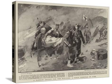 A Narrow Escape for the Wounded, a Field Hospital on Fire-Frederic De Haenen-Stretched Canvas Print