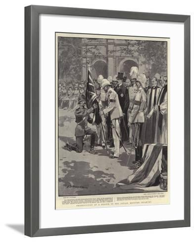 Presentation of a Colour to the Ceylon Mounted Infantry-Frederic De Haenen-Framed Art Print
