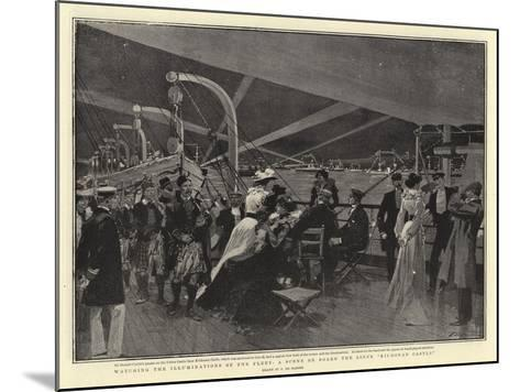Watching the Illuminations of the Fleet, a Scene on Board the Liner Kiidonan Castle-Frederic De Haenen-Mounted Giclee Print
