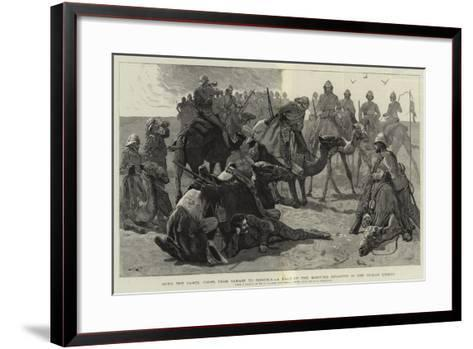 With the Camel Corps from Sarass to Dongola, a Halt of the Mounted Infantry in the Nubian Desert-Frederic Villiers-Framed Art Print