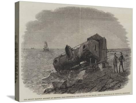 The Recent Railway Accident at Granton, Near Edinburgh, the Engine on the Beach-Frederick Morgan-Stretched Canvas Print