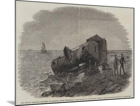The Recent Railway Accident at Granton, Near Edinburgh, the Engine on the Beach-Frederick Morgan-Mounted Giclee Print
