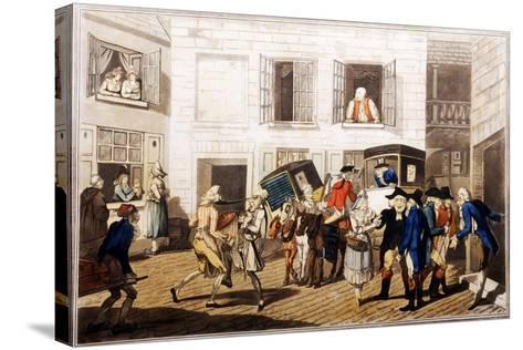 Inn Yard at Calais, Pub. by William Holland, London, 1790 (Hand-Coloured Aquatint)-Frederick George Byron-Stretched Canvas Print