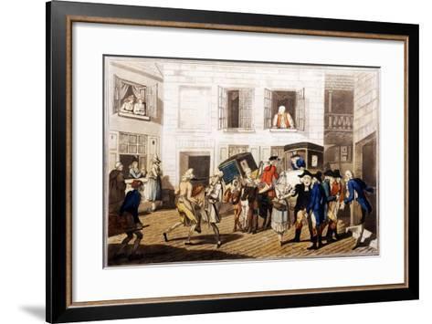 Inn Yard at Calais, Pub. by William Holland, London, 1790 (Hand-Coloured Aquatint)-Frederick George Byron-Framed Art Print