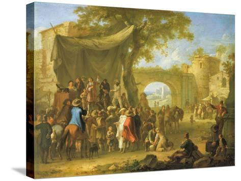 Figures of the Commedia Dell'Arte Acting Out a Quack Doctor Scene-Franz Ferg-Stretched Canvas Print