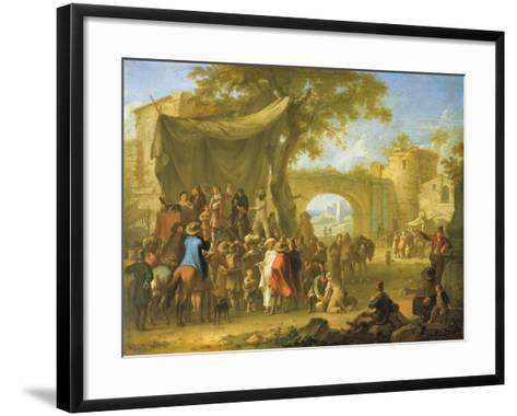 Figures of the Commedia Dell'Arte Acting Out a Quack Doctor Scene-Franz Ferg-Framed Art Print