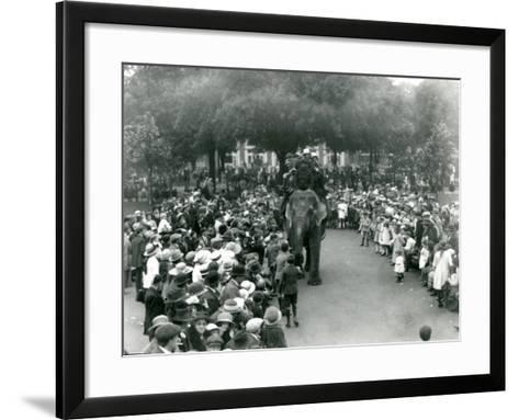 Crowds of Visitors Watch an Elephant Ride at London Zoo, August Bank Holiday, 1922-Frederick William Bond-Framed Art Print