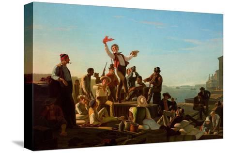 Jolly Flatboatmen in Port, 1857-George Caleb Bingham-Stretched Canvas Print