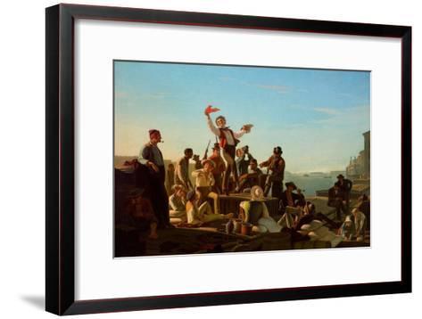 Jolly Flatboatmen in Port, 1857-George Caleb Bingham-Framed Art Print
