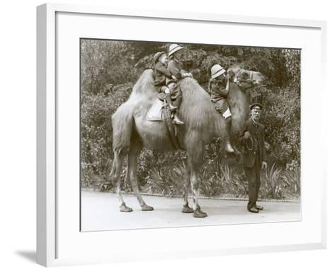 A Bactrian Camel Ride with Keeper and Three Children at London Zoo, May 1914-Frederick William Bond-Framed Art Print