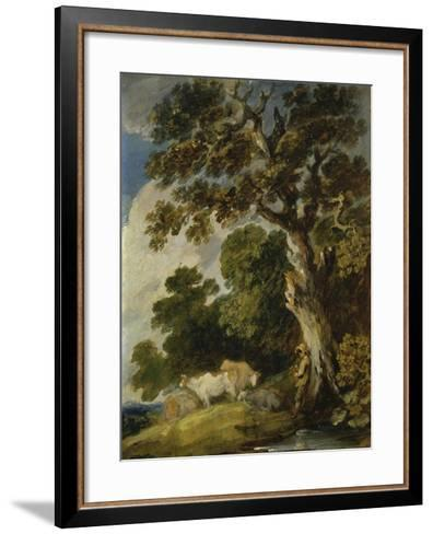 A Wooded Landscape with Cattle and Herdsmen-Gainsborough Dupont-Framed Art Print