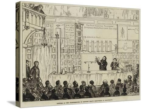 Lecture at the Charterhouse on Stephen Gray's Discoveries in Electricity-George Cruikshank-Stretched Canvas Print