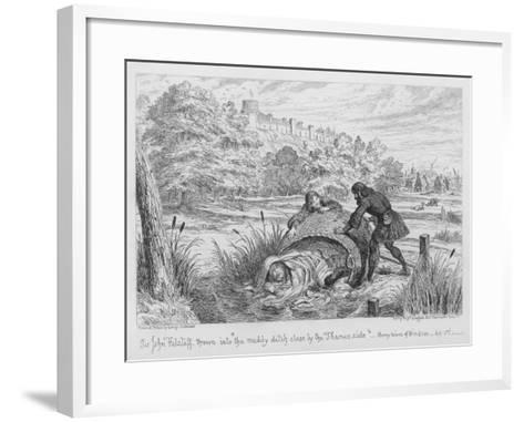 Sir John Falstaff Thrown into The Muddy Ditch Close by the Thames Side-George Cruikshank-Framed Art Print