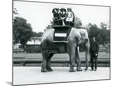 A Female Indian Elephant 'Nellie', with Keeper, Giving Children a Ride at London Zoo, May 1914-Frederick William Bond-Mounted Photographic Print