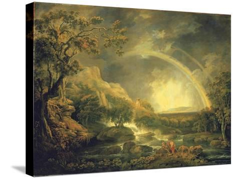 Extensive Wooded River Landscape, with Anglers Beside a Pool Below a Waterfall, and a Rainbow-George the Elder Barret-Stretched Canvas Print