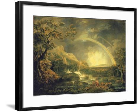 Extensive Wooded River Landscape, with Anglers Beside a Pool Below a Waterfall, and a Rainbow-George the Elder Barret-Framed Art Print
