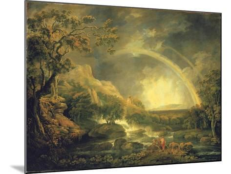 Extensive Wooded River Landscape, with Anglers Beside a Pool Below a Waterfall, and a Rainbow-George the Elder Barret-Mounted Giclee Print