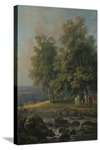 Horses and Cattle by a River, 1777-George the Elder Barret-Stretched Canvas Print