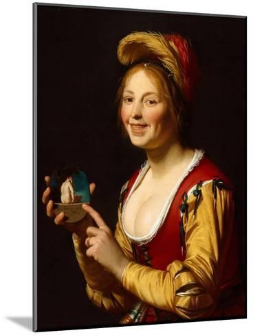Smiling Girl, a Courtesan, Holding an Obscene Image, 1625-Gerrit van Honthorst-Mounted Giclee Print