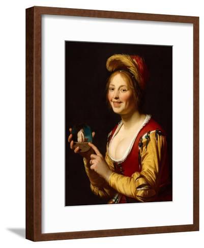 Smiling Girl, a Courtesan, Holding an Obscene Image, 1625-Gerrit van Honthorst-Framed Art Print