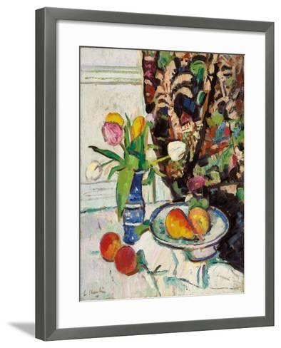 Still Life with Tulips and Fruit-George Leslie Hunter-Framed Art Print