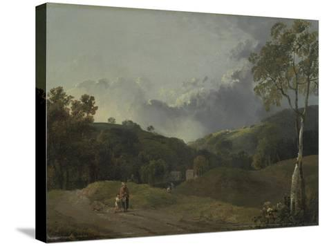Landscape with Cottagers-George the Elder Barret-Stretched Canvas Print