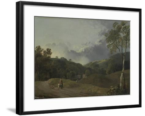 Landscape with Cottagers-George the Elder Barret-Framed Art Print