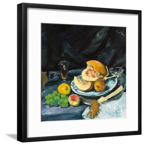Still Life with Cut Melon, Glass and Fan, C. 1920-George Leslie Hunter-Framed Art Print