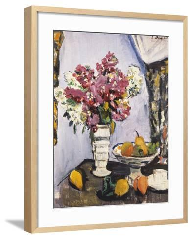 Summer Blossom and a Bowl of Fruit, with a Cup and Saucer-George Leslie Hunter-Framed Art Print
