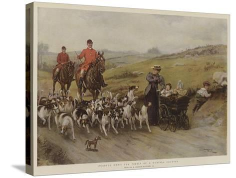 Fearful Odds! the Perils of a Hunting Country-George Goodwin Kilburne-Stretched Canvas Print