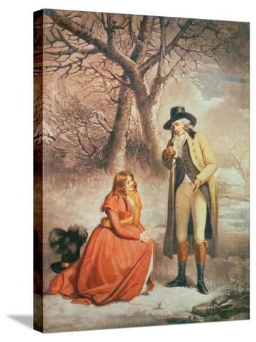 Gentleman and Woman in a Wintry Scene-George Morland-Stretched Canvas Print