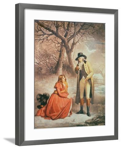 Gentleman and Woman in a Wintry Scene-George Morland-Framed Art Print