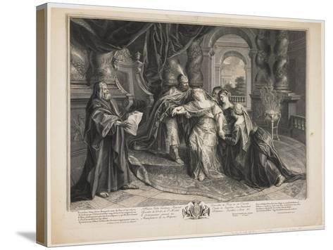 Esther before Ahasuerus, C.1705-Gérard Audran-Stretched Canvas Print