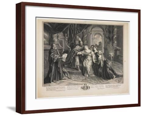 Esther before Ahasuerus, C.1705-Gérard Audran-Framed Art Print