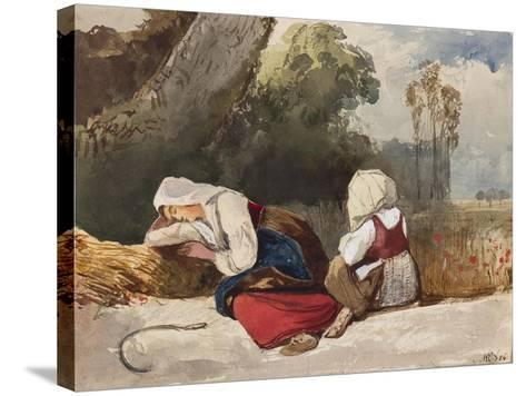 Gleaners Resting-Giacinto Gigante-Stretched Canvas Print