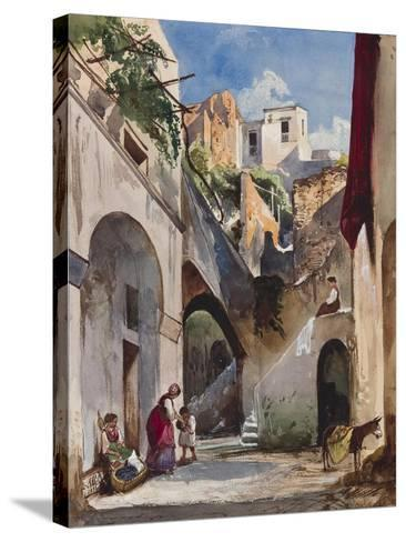 Houses on the Costiera of the Sorrentine Peninsula-Giacinto Gigante-Stretched Canvas Print