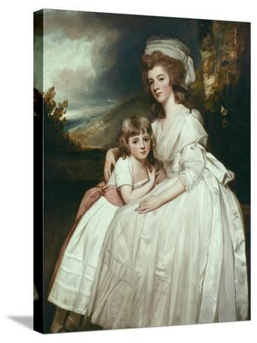 Portrait of Mrs Richard Pryce Corbet and Her Daughter, 1780-George Romney-Stretched Canvas Print