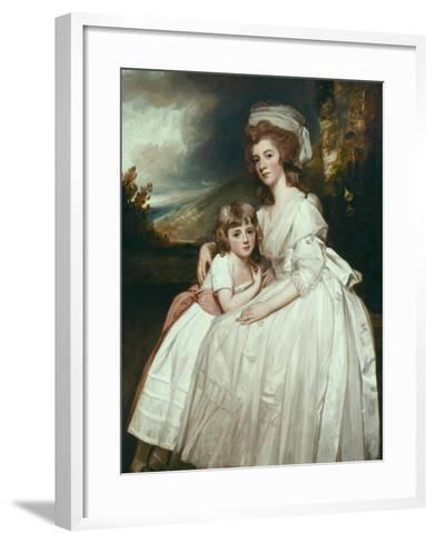 Portrait of Mrs Richard Pryce Corbet and Her Daughter, 1780-George Romney-Framed Art Print