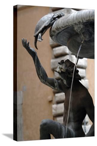 The Turtle Fountain. Detail. Turtle and Bronze Ephebe.16th Century. Rome. Italy-Giacomo della Porta-Stretched Canvas Print