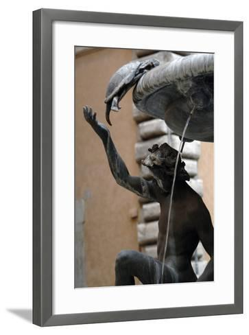 The Turtle Fountain. Detail. Turtle and Bronze Ephebe.16th Century. Rome. Italy-Giacomo della Porta-Framed Art Print