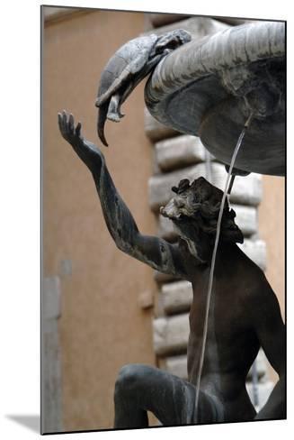 The Turtle Fountain. Detail. Turtle and Bronze Ephebe.16th Century. Rome. Italy-Giacomo della Porta-Mounted Photographic Print