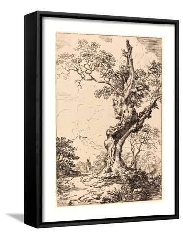Study of an Old Oak Tree, Water on Right, a Man on Left, 1806, Pen-And-Tusche Lithograph-George Samuel-Framed Canvas Print