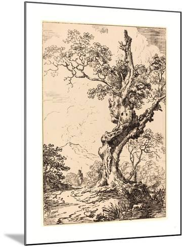 Study of an Old Oak Tree, Water on Right, a Man on Left, 1806, Pen-And-Tusche Lithograph-George Samuel-Mounted Giclee Print