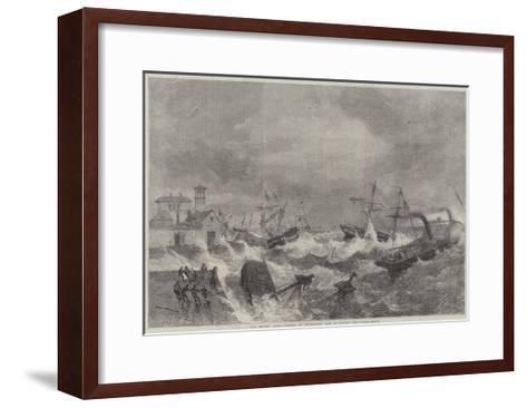 The Recent Gale, Wrecks at Kingstown, Bay of Dublin-George Henry Andrews-Framed Art Print